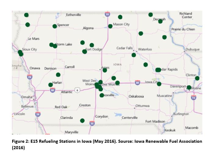 E15 Refueling stations in Iowa