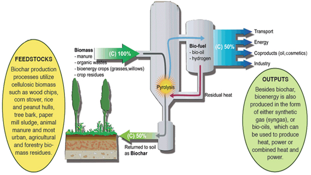 Slow purolysis produces biochar and bioenergy