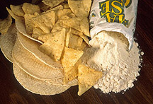 white corn chips and totillas